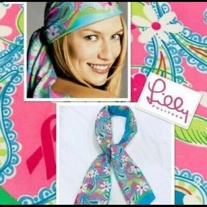 LILLY PULITZER Silk Scarf Breast Cancer Awareness